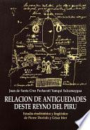 libro Relación De Antiguedades Deste Reyno Del Piru