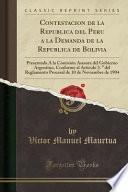 Contestacion De La Republica Del Peru A La Demanda De La Republica De Bolivia