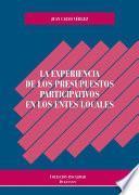 libro La Experiencia De Los Presupuestos Participativos En Los Entes Locales